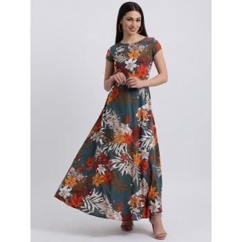 Zink London Women's Teal Floral Print Maxi Dress