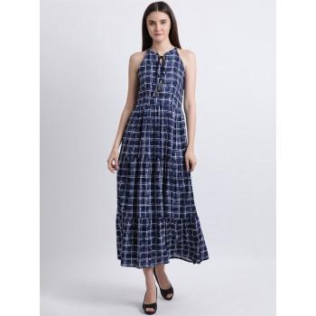 Zink London Women's Blue Checkered Maxi Dress