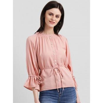 Zink London Women's Pink Solid Regular Top