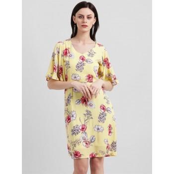 Zink London Women's Yellow Floral Print Sheath Dress