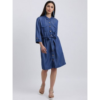 Zink London Women's Blue Solid Shirt Style Dress
