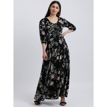 Zink London Women's Black Floral Print Maxi Dress