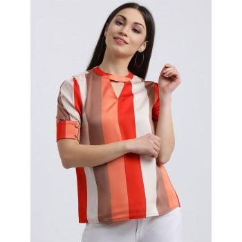 Zink London Women's Multicolour Striped Regular Top