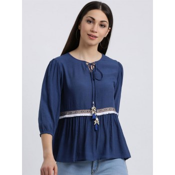 Zink London Women's Blue Solid Regular Top