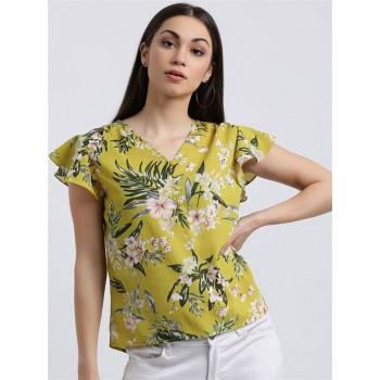 Zink London Women's Green Floral Print Regular Top