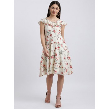 Zink London Women's Off White Floral Print A-Line Dress