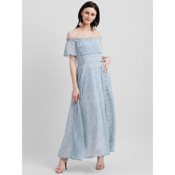 Zink London Women's Blue Printed Bardot Dress