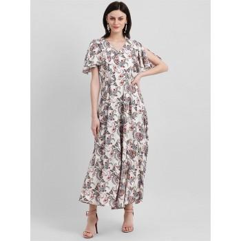 Zink London Women's Beige Paisely Print Maxi Dress