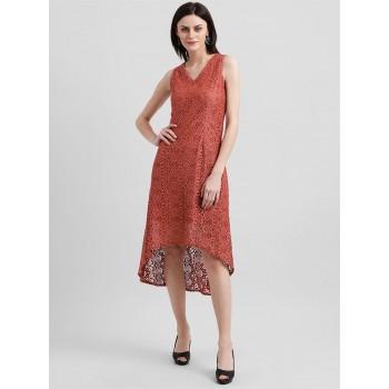 Zink London Women's Red Self Design Asymmetric Dress