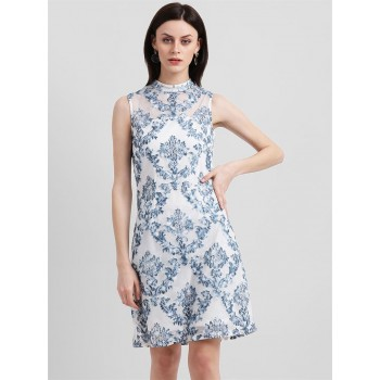 Zink London Women's White Self Design Sheath Dress