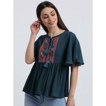 Zink London Women's Green Embroidered Regular Top