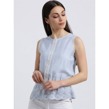 Zink London Women's Blue Solid Clinched Waist Top