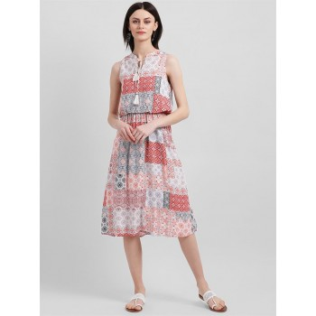 Zink London Women's Pink & White Printed Cinched Waist Dress