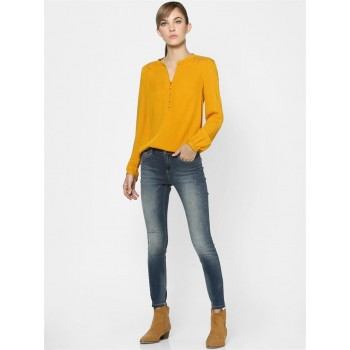 Only Women Casual Wear Yellow High Low Top