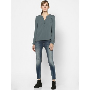 Only Women Casual Wear Grey High Low Top