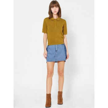 Only Women Casual Wear Olive Polo T-Shirt