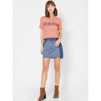 Only Women Casual Wear Peach T-Shirt