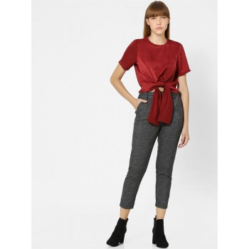 Only Women Casual Wear Red Crop Top