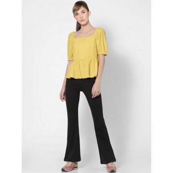 Only Women Casual Wear Yellow Peplum Top