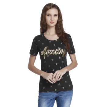 Only Casual Wear Embellished Women T-shirt