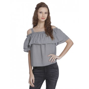 Only Women Casual Wear Checkered Top
