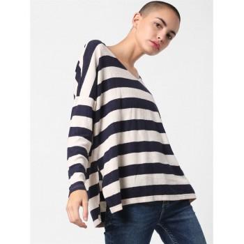Only Women Casual Wear Striped T-shirt