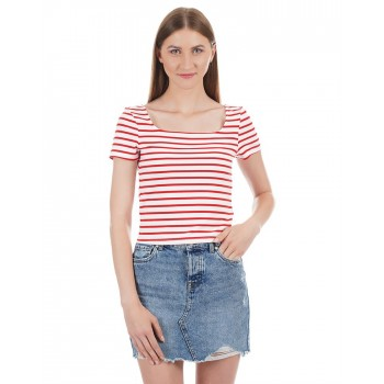 Only Women Casual Wear Striped T-Shirt