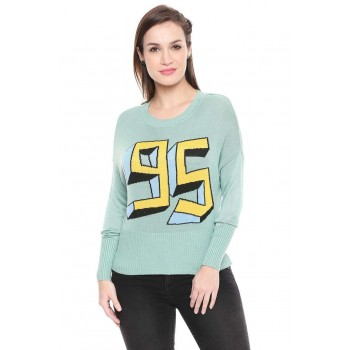Only Women Casual Wear Chest Print Sweatshirt