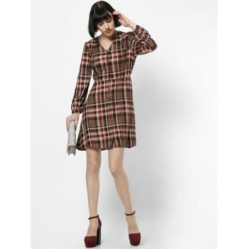 Only Women Casual Wear Checkered Dress