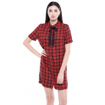 Only Women Casual Wear Checkered Dress
