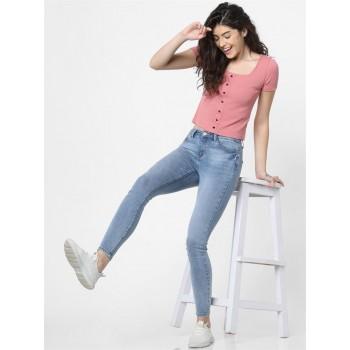 Only Women Casual Wear Sky Blue Jeans