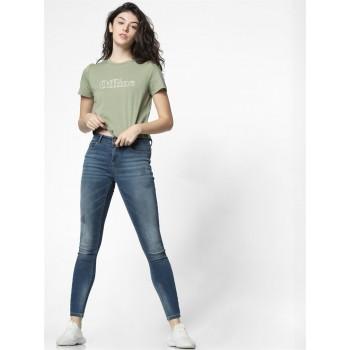 Only Women Casual Wear Light Green T-Shirt