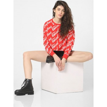 Only Women Casual Wear Red Sweatshirt