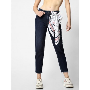 Only Women Casual Wear Navy Blue Jeans with Scarf