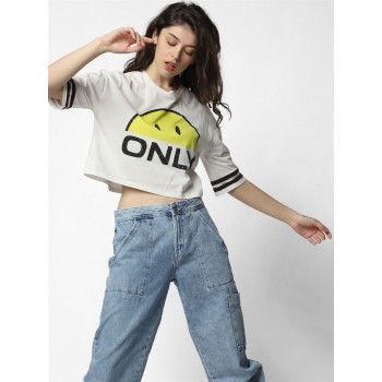 Only Women Casual Wear Off White T-Shirt