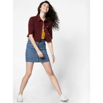 Only Women Casual Wear Maroon Denim Jacket