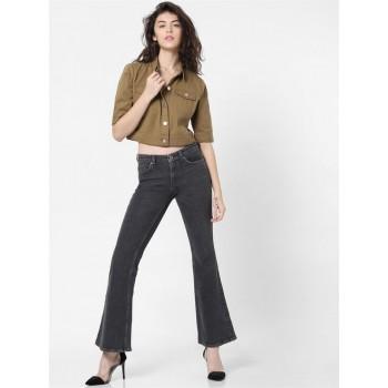 Only Women Casual Wear Brown Denim Jacket