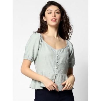 Only Women Casual Wear Light Grey Blouson Top