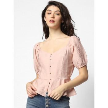 Only Women Casual Wear Pink Blouson Top