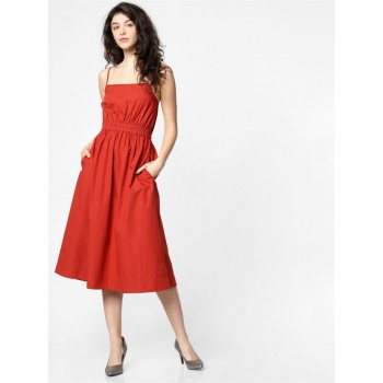 Only Women Casual Wear Red Fit & Flare Dress