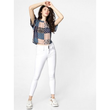 Only Women Casual Wear Multicolor Crop Top