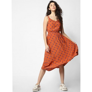 Only Women Casual Wear Orange Fit & Flare Dress