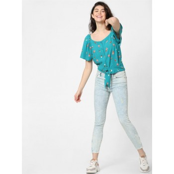 Only Women Casual Wear Blue Blouson Top