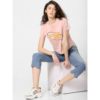 Only Women Casual Wear Pink T-Shirt