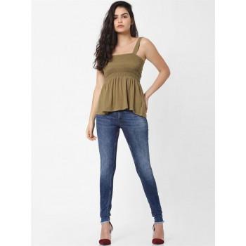 Only Women Casual Wear Brown Blouson Top
