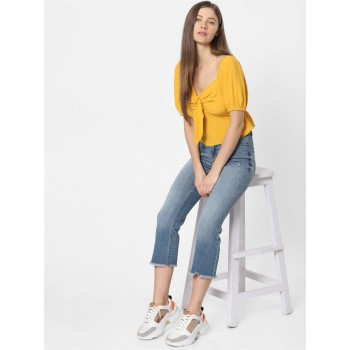 Only Women Casual Wear Yellow Crop Top