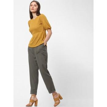Only Women Casual Wear Golden Top