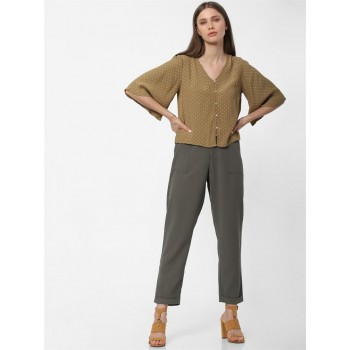 Only Women Casual Wear Olive Green Crop Top