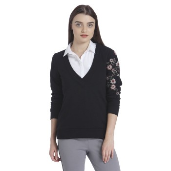 Vero Moda Casual Wear Self Design Women Pullover