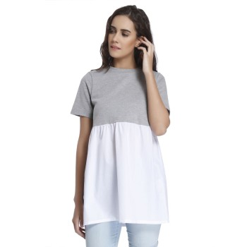 Vero Moda Women Solid Casual Wear Grey Top
